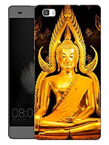 "Humor Gang Buddha In Gold - Buddhist God Printed Designer Mobile Back Cover For ""Huawei P8"" (3D, Matte, Premium Quality Snap On Case)"