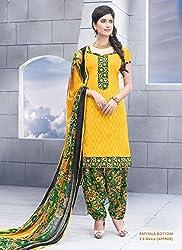 Yellow Jacquard Cotton Salwar Kameez (Unstitch)
