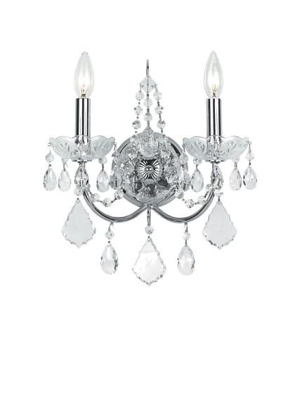 Elegant Wall Sconce with Swarovski SPECTRA Crystals, Polished Chrome