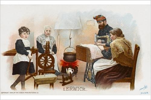 Photographic Print Of Lady From Lerwick Using A Singer Sewing Machine