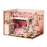 Wooden Handmade Dream Angels Dollhouse Miniature DIY Kit Cute Room With Furnitiure and Cover Artwork Christmas Valentine's Day Gift