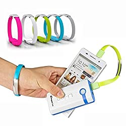 Short Micro USB Data Charging Sync Cable Band innovative Gift Boys and girls Data Sync Charger Bracelet For iPhone 5-C and Compatible with iOS 8(Pack of One in any color)