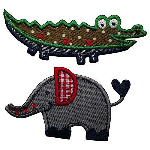 coccodrillo-9x3cm-elephant-6x4cm-coccodrillo-su-fondo-in-tessuto-verde-scuro-e-ricamo-di-contorno-ve