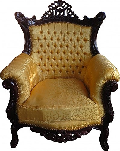 Casa Padrino Baroque armchair Al Capone Gold Pattern / Mahagony Brown - antique style room furniture