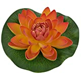Veena Artificial Plastic Floating Orange Lotus with Rubber Leaf - Set of 3 (17 cms Diameter, Orange)