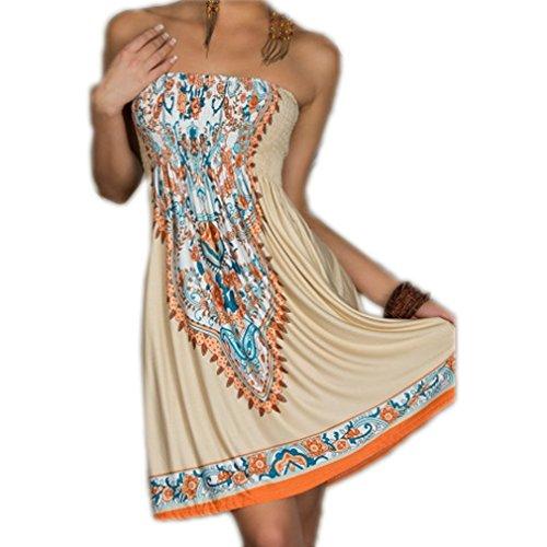ACVIP Women's Sexy Bohemian Beach Dresses Khaki (M)