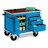 Best Deals EUROKRAFT Mobile Four-Drawer Assembly Bench with Cabinet – Blue