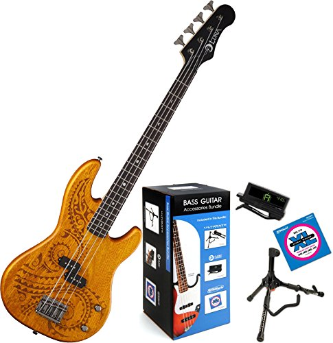 Luna Tattoo 30 Short Scale Bass Guitar W/ Accessory Pack