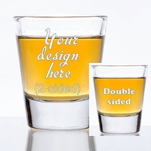 1.5 oz Custom Shot Glass - Glass Etched Personalized Shot Glass - Double Sided (Double Sided Shot Glass compare prices)