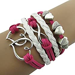 Sortitio's Double Heart Pink White Bracelet