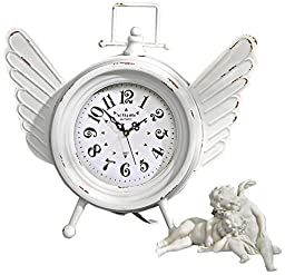 Design Toscano Heavens Halo Metal Angel Wings Clock, Antique White