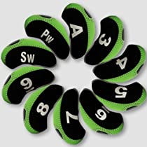 Andux Number Tag Golf Iron Covers 10pcs/set Mt/s01 Black/green