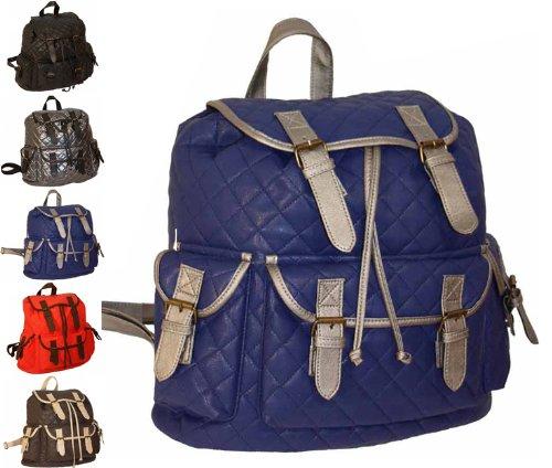 Ladies Large Faux Leather Backpack Rucksack Handbag Bag Work College School