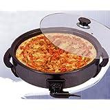Piastra forno pizza cuocipizza elettrico antiaderente con coperchio vetro; diametro cm40; potenza 1700watt