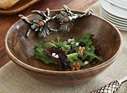 Mud Pie Cabin Fever Wood Serving Bowl, Acorn Accents by Mud Pie