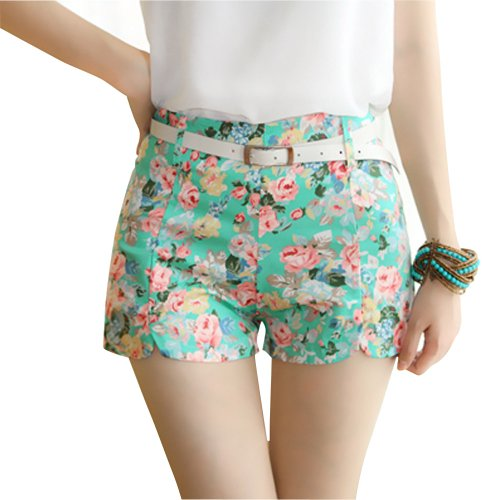 Imixcity Hot Women Floral Elastic High Waist Pants Shorts Mini Trouser Short Pants (Green)
