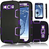 Galaxy S3 Case, EC™ 3in1 Shockproof Case, Hybrid Armor Rubber Combo Impact Silicone Case Cover for Samsung Galaxy S3 i9300 with Screen Protector and Stylus (Purple/Black)