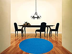 Shaggy Rug Teal Blue 963 Plain 5cm Thick Soft Pile 120cm (4ft) Round Circle Modern 100% Berclon Twist Fibre Non-Shed Polyproylene Heat Set - AVAILABLE IN 6 SIZES by Quality Linen and Towels by Quality Linen and Towels
