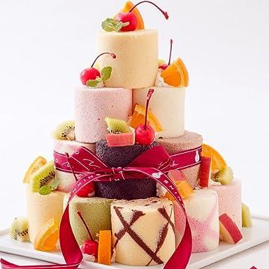新杵堂 8種のミニロールを自己流アレンジで楽しむロールケーキタワー 16個 [ 誕生日ケーキ・バースデーケーキ ]