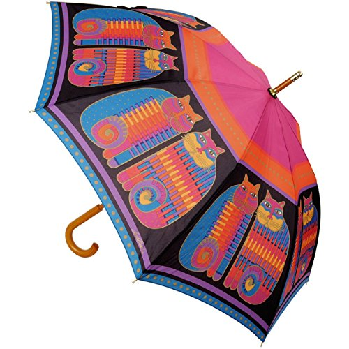 laurel-burch-laurel-burch-stick-paraguas-canopy-auto-open-rainbow-cat-primos-42-inch
