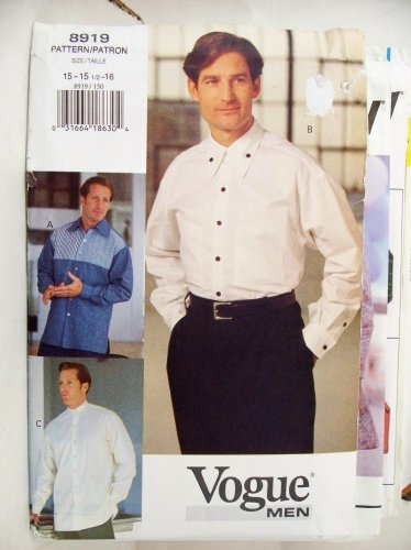 OOP Vogue Pattern 8919. Men's Size 15; 15.5; 16 Shirts