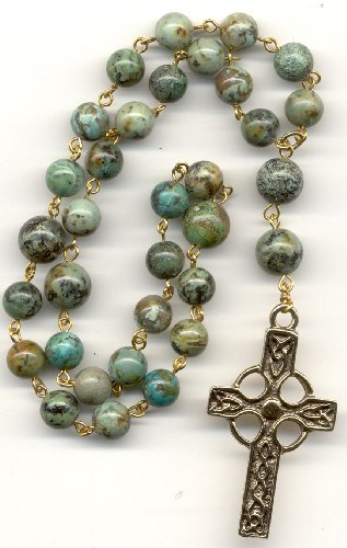 Anglican Rosary - African Turquoise, Gold Pewter Cross