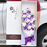 NEW Handmade Wedding Bridal Bouquet Soft Plush Toy Bouquet Teddy Bear (Purple)
