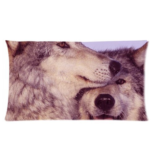 Animal Couple Wolves Cuddle Together Custom Rectangle Bed Pillow Cases 20X36 (Twin Sides) front-987287