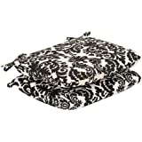 Pillow Perfect Indoor/Outdoor Black/Beige Damask Seat Cushion, Rounded, 2-Pack