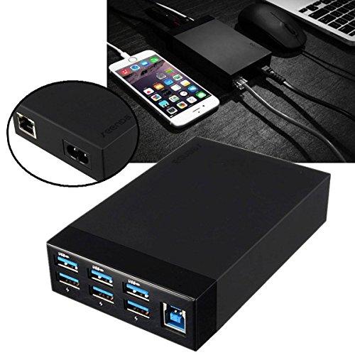 ELEGIANT 5A USB 3.0 6 Port Hub Adapter Smart Ladegerät Charger RJ45 Ethernet Anschluss Konverter Netzadapter