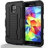 S5 hülle,HOOMIL® Samsung Galaxy S5 Dropdown-beweis stoßfest Handy Schutzhülle Weich Silikon Dual Layer Holster Armor Case mit Ständer und Gürtelclip hülle für Samsung Galaxy S5 SV i9600 (Schwarz)