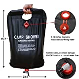 Ailiebhaus-Portable-20L-PVC-Outdoor-Camping-Solarenergie-Shower-Bag-Solardusche-Wasser-Beutel-Schwarz