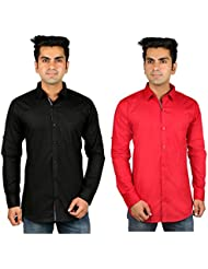 Nimegh Black, Red Color Cotton Casual Slim Fit Shirt For Men's (Pack Of 2)