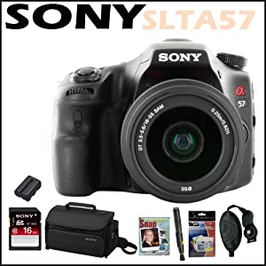 Sony DSLR SLTA57K Alpha 16.1MP DSLR Camera 18-55MM Lens + Sony 16 GB Class 10 Memory Card + Sony Camera Bag + Replacement Battery Pack + Accessory Kit