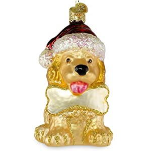 Jolly Puppy Old World Christmas Glass Ornament