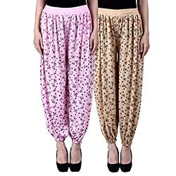 NumBrave Printed Viscose Light pink & Beige Harem Pants (Pack of 2)