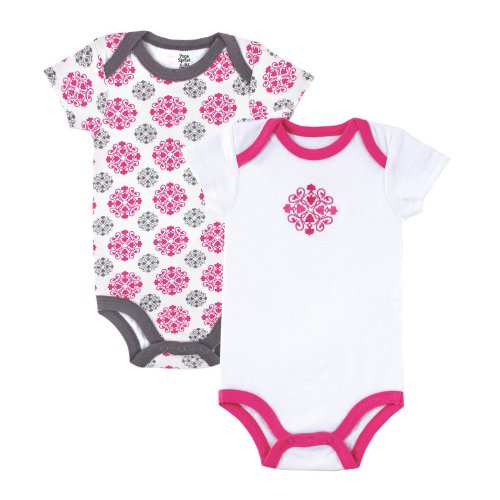 Yoga Sprout Bodysuit 2-Pack,6-9 Months,Pink Medallion