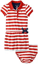 Nautica Baby-Girls Infant Striped Ruffle Polo Dress, True Red, 18 Months