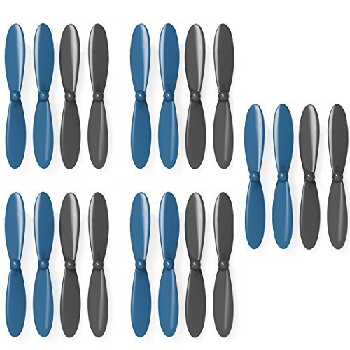 AVAWO® Propeller Blades Props Rotor 5x COMBO Propellers For Hubsan X4 H107 H107D H107C H107L Quad - Blue+Black