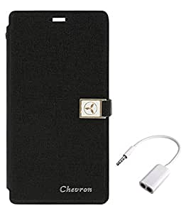 Chevron Royal Armour Flip Cover With Stand Mode for Moto G (2nd Gen) LTE with Audio Splitter (Black)