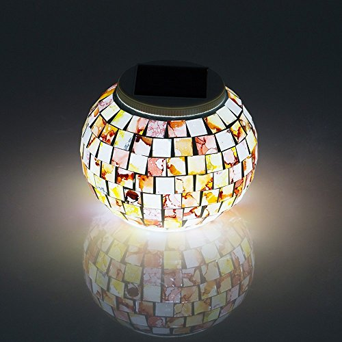 Top One Tech Mosaic Color Changing LED Solar light, Waterproof Flameless Light Lamp for Indoor or Outdoor Decorations (Granite)
