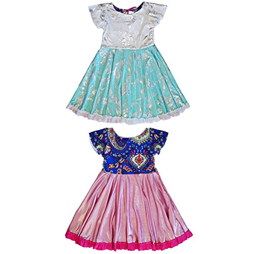 Reversible Twirly Everlasting Girls Elsa Anna Dress | Frozen Princess Dress