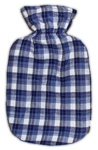 Warm Tradition Blue Plaid Cotton Flannel Covered Hot Water Bottle - Bottle Made In Germany, Cover Made In Usa