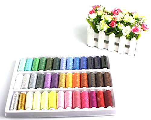 Discover Bargain Liroyal 39 Assorted Color 200 Yards Per Unit Polyester Sewing Thread Spool Set + A ...