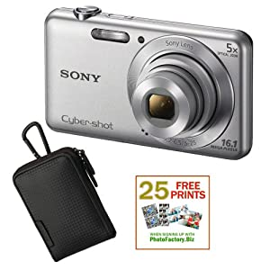 Sony DSC-W710 16 MP Digital Camera with 2.7-Inch LCD (Silver) with Sony Case Black Plus 25 Free Quality Photo Prints