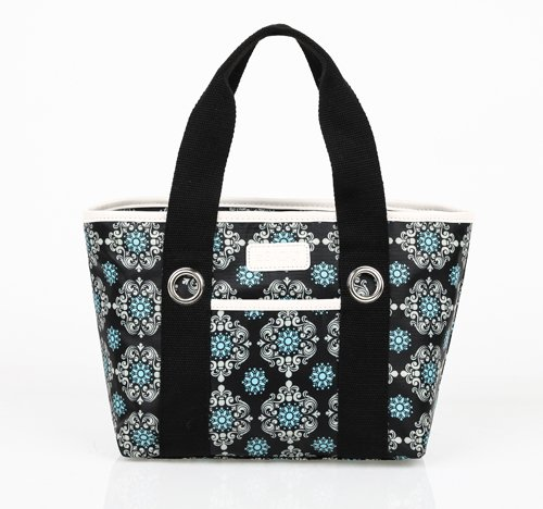 Sachi 11-194 Insulated Fashion Lunch Tote, Black Medallion - 1