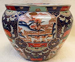Orange and Blue Village Porcelain Fish Bowl 18\