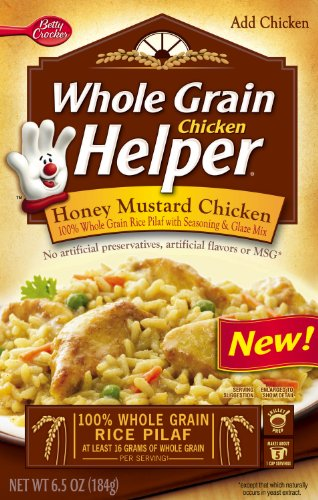 Add some chicken (any chicken!) to this boxed meal, and you have a scrumptious honey mustard chicken meal in about an hour. It does take a little longer to cook than some boxed meals, especially if you like your rice cooked down until it gets a softer texture.