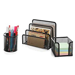 3 Piece Black Metal Wire Mesh Office Desktop Organizer w/ Memo Holder, Pencil Cup & Mail Sorter - MyGift®