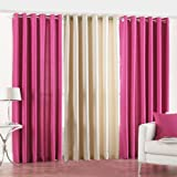 PINDIA 3 PC COMBO Faux Silk Eyelet Door Window Curtain, Polyester Plain Ringtop - 9ft Pink2 Cream1